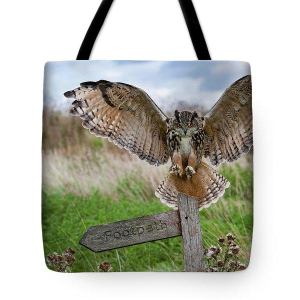 Eagle Owl On Signpost Tote Bag