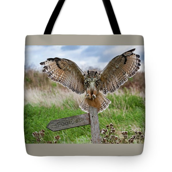 Eagle Owl On Signpost Tote Bag