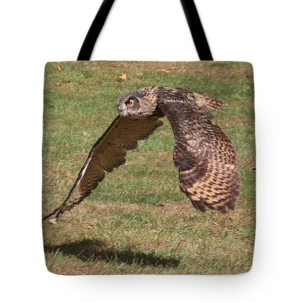 Tote Bag featuring the photograph Eagle Owl On The Hunt 1 by William Selander