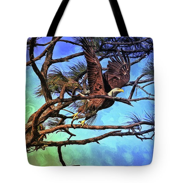 Tote Bag featuring the painting Eagle Series 2 by Deborah Benoit