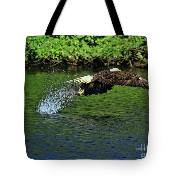 Tote Bag featuring the photograph Eagle Series Fish Catch by Deborah Benoit
