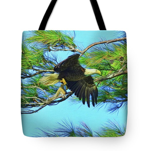 Tote Bag featuring the painting Eagle Series Food by Deborah Benoit