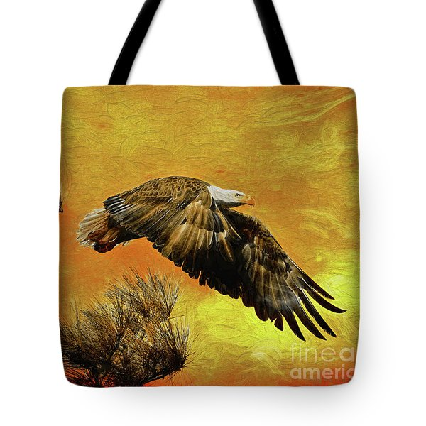 Tote Bag featuring the painting Eagle Series Strength by Deborah Benoit