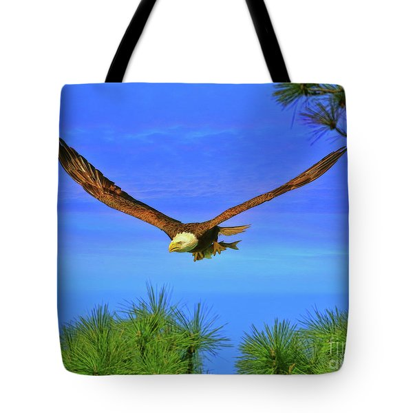 Tote Bag featuring the photograph Eagle Series Through The Trees by Deborah Benoit