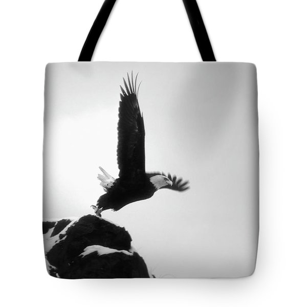 Tote Bag featuring the photograph Eagle Takeoff At Adak, Alaska by John A Rodriguez