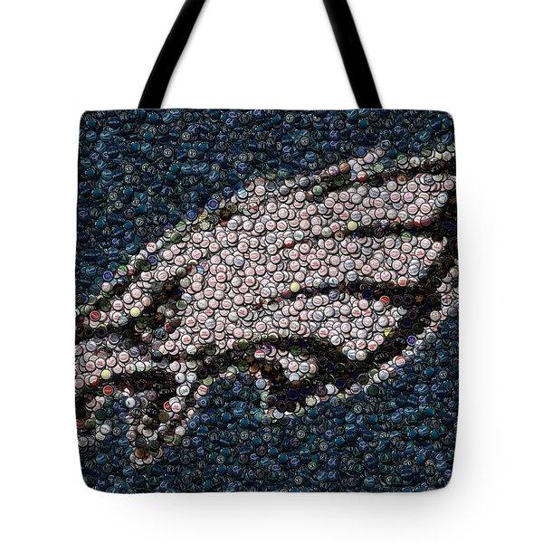 Eagles Bottle Cap Mosaic Tote Bag by Paul Van Scott
