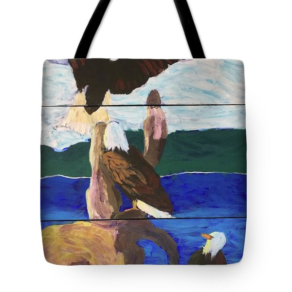 Tote Bag featuring the painting Eagles by Donald J Ryker III