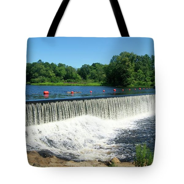 Tote Bag featuring the photograph Eagleville Dam by David Birchall
