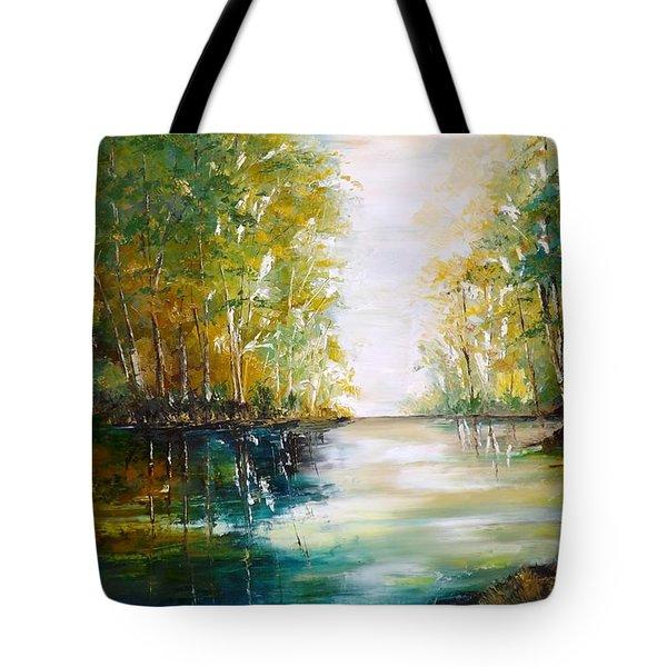 Early Autumn Lake Tote Bag