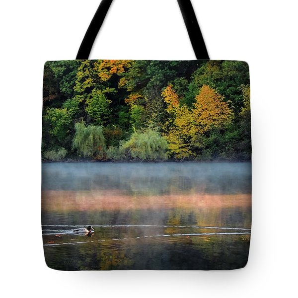 Early Autumn Morning At Longfellow Pond Tote Bag