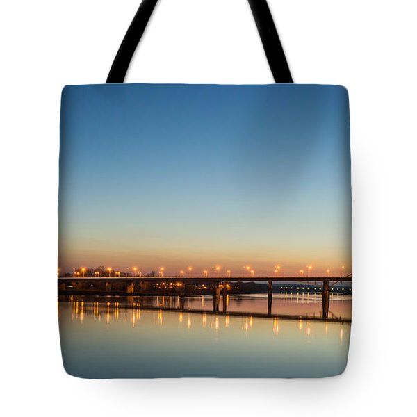 Early Evening Bridge At Sunset Tote Bag