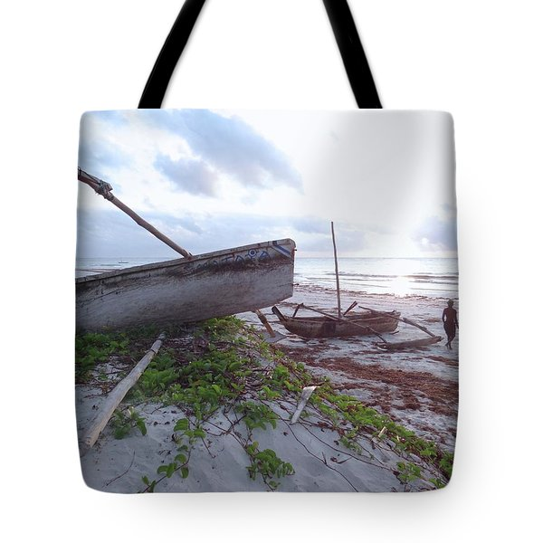early morning African fisherman and wooden dhows Tote Bag
