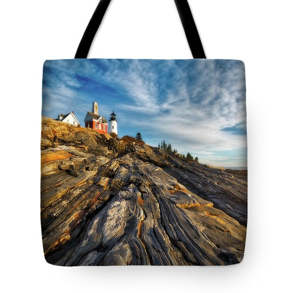 Tote Bag featuring the photograph Early Morning At Pemaquid Point by Darren White