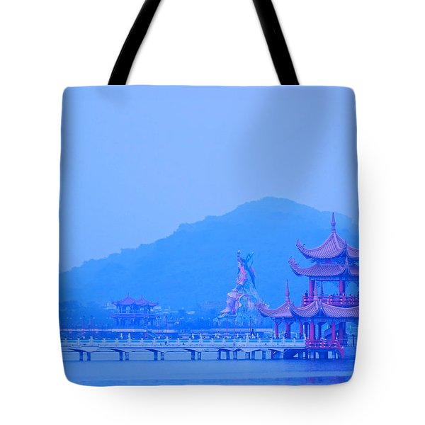 Tote Bag featuring the photograph Early Morning At The Lotus Lake by Yali Shi