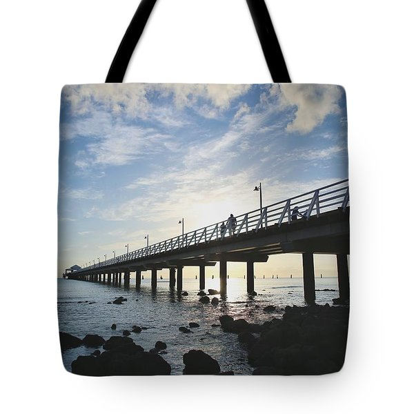 Early Morning At The Pier Tote Bag