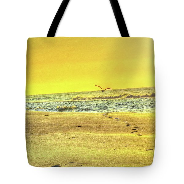 Tote Bag featuring the digital art Early Morning Beach Walk by Kathleen Illes