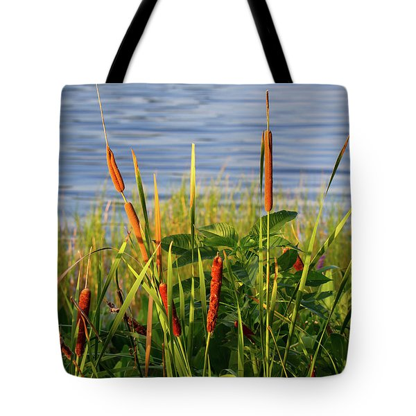 Early Morning Cattails Tote Bag