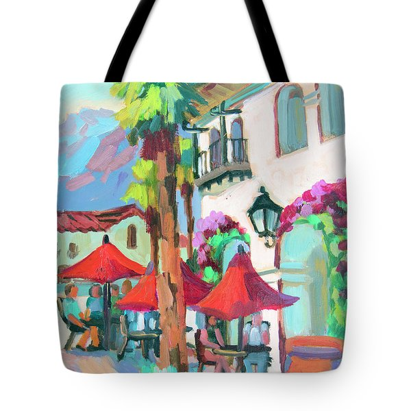 Tote Bag featuring the painting Early Morning Coffee In Old Town La Quinta 2 by Diane McClary