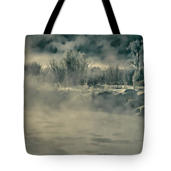 Tote Bag featuring the photograph Early Morning Frost On The River by Don Schwartz