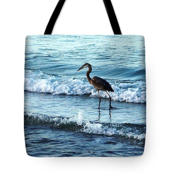 Early Morning Heron Beach Walk Tote Bag