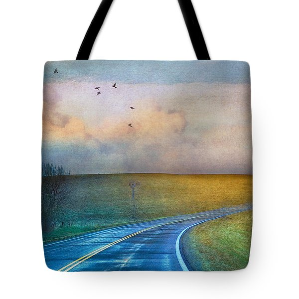Early Morning Kansas Two-lane Highway Tote Bag