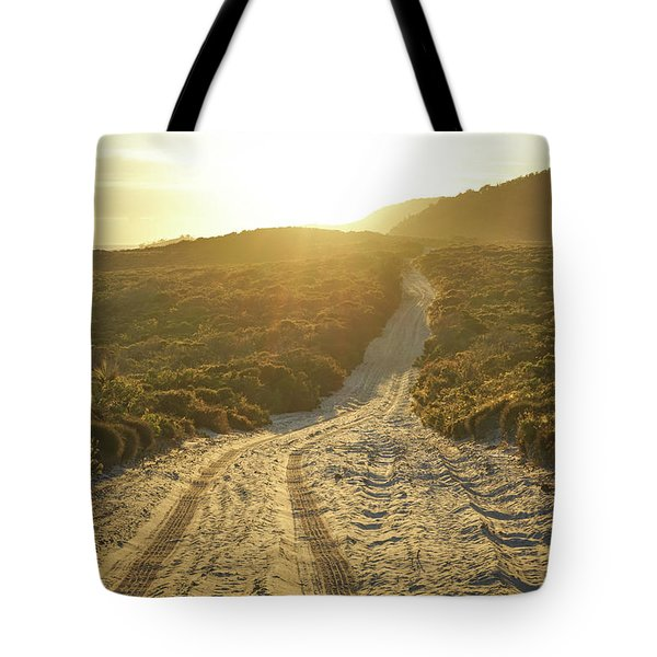 Early Morning Light On 4wd Sand Track Tote Bag