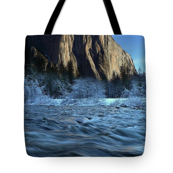 Tote Bag featuring the photograph Early Morning Light On El Capitan During Winter At Yosemite National Park by Jetson Nguyen