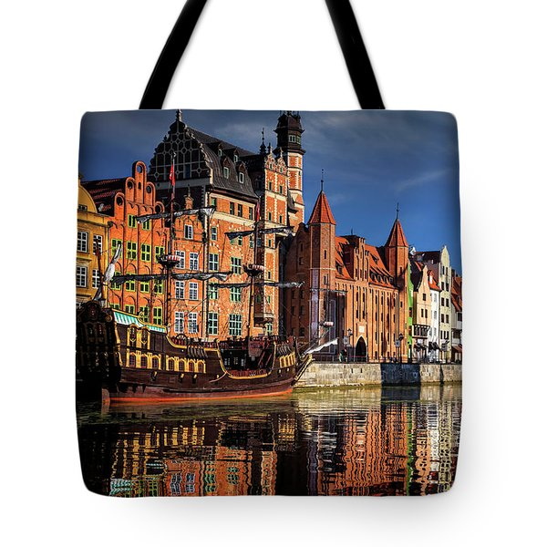Early Morning On The Motlawa River In Gdansk Poland Tote Bag