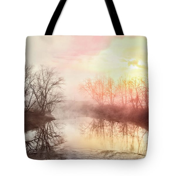 Tote Bag featuring the photograph Early Morning On The River by Debra and Dave Vanderlaan