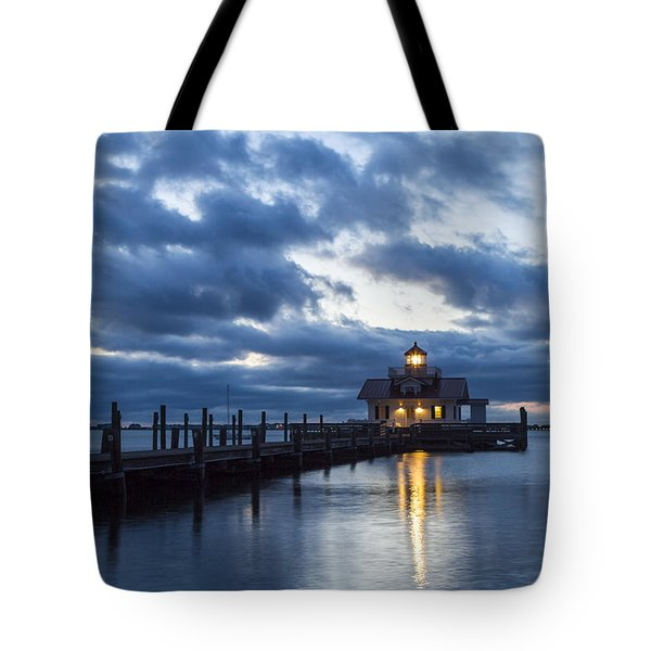 Early Morning Over Roanoke Marshes Lighthouse Tote Bag