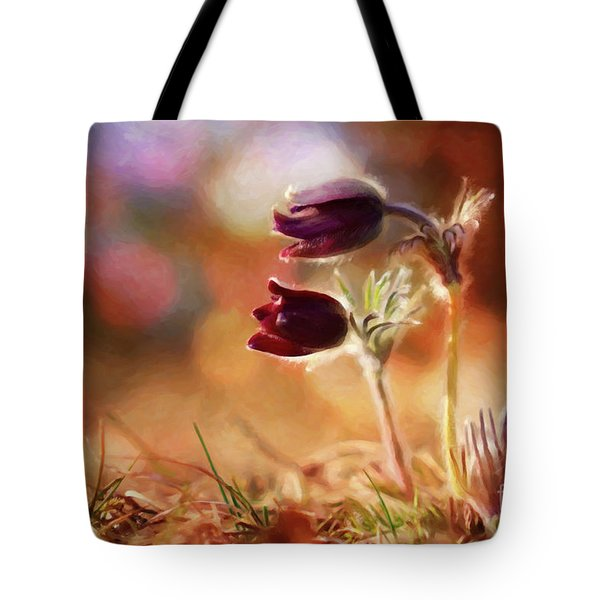 Early Morning Purple Pasque Tote Bag