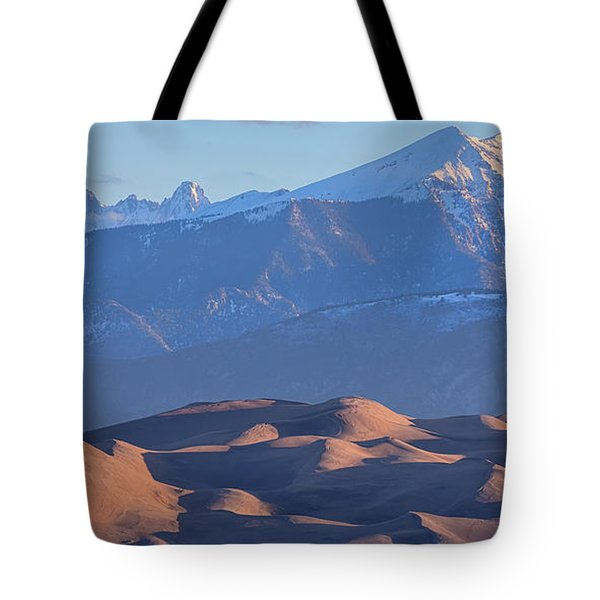 Early Morning Sand Dunes And Snow Covered Peaks Tote Bag by James BO Insogna