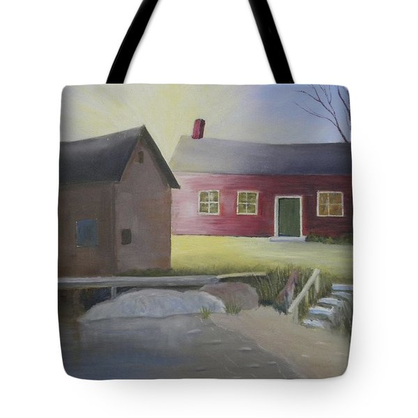 Early Morning Sun At The Shop Tote Bag