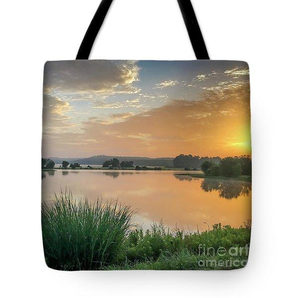 Early Morning Sunrise On The Lake Tote Bag