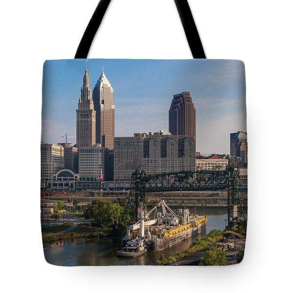 Early Morning Transport On The Cuyahoga River Tote Bag