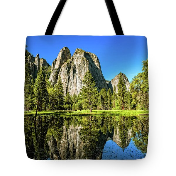 Tote Bag featuring the photograph Early Morning View At Cathedral Rocks Vista by John Hight