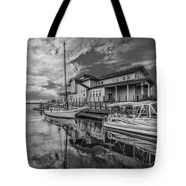 Early Sailing - Black And White Tote Bag by Mina Isaac