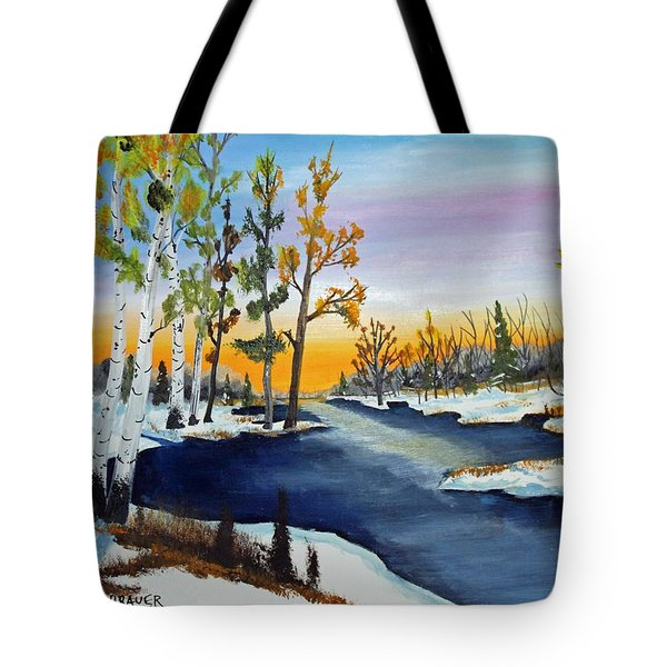 Early Snow Fall Tote Bag by Jack G Brauer