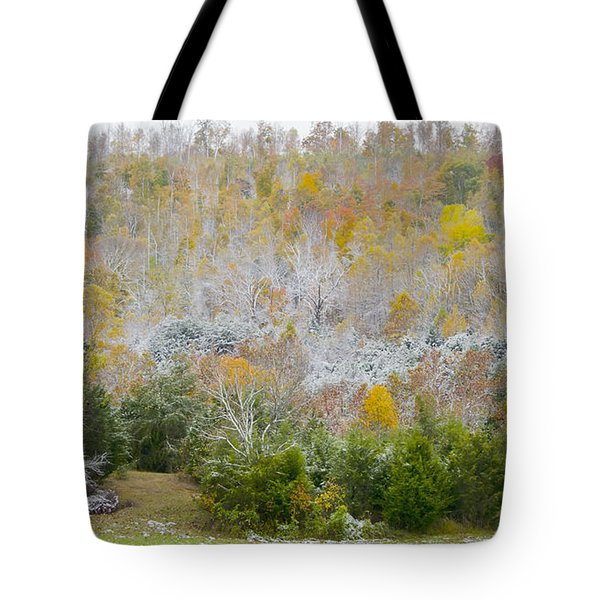 Tote Bag featuring the photograph Early Snow Fall by Wanda Krack