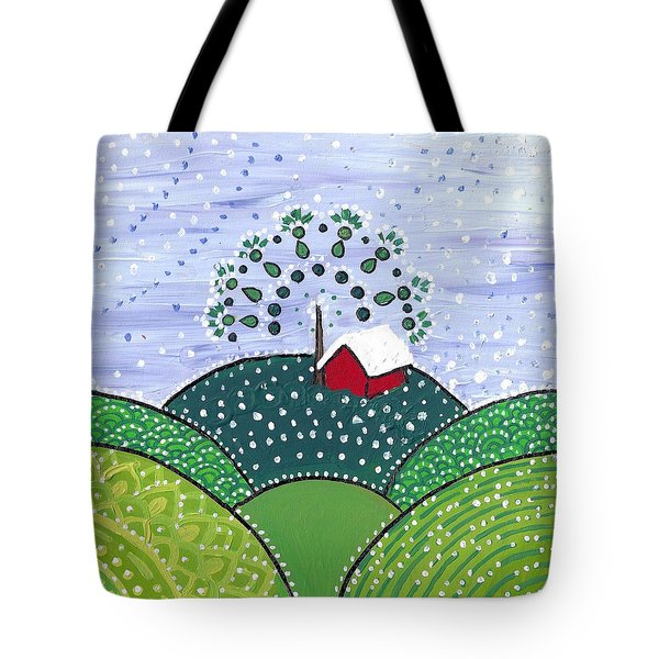Early Snow On The Little Red Barn Tote Bag