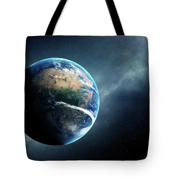 Earth And Moon Space View Tote Bag