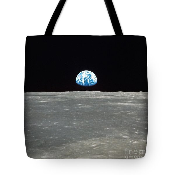 Earth And The Moon Tote Bag by Stocktrek Images