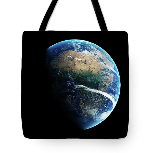 Earth Day And Night Space View Tote Bag