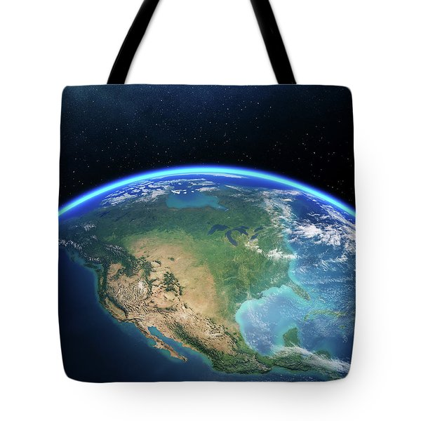 Earth From Space North America Tote Bag