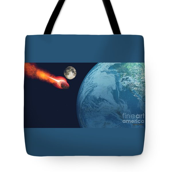 Earth Hit By Asteroid Tote Bag by Corey Ford