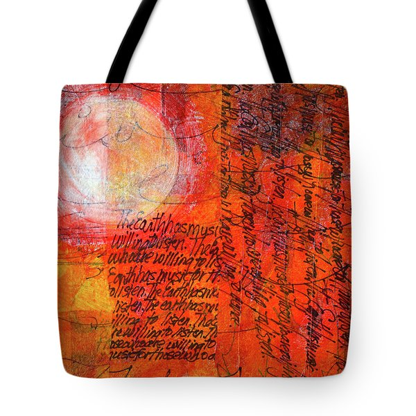 Tote Bag featuring the mixed media Earth Music by Nancy Merkle