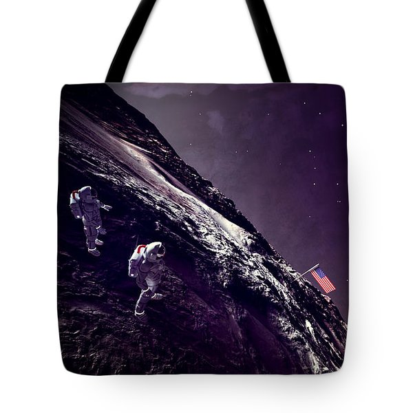 Tote Bag featuring the digital art Earth Rise On The Moon by Methune Hively