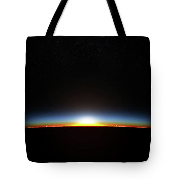 Earth Sunrise Through Atmoshere Tote Bag
