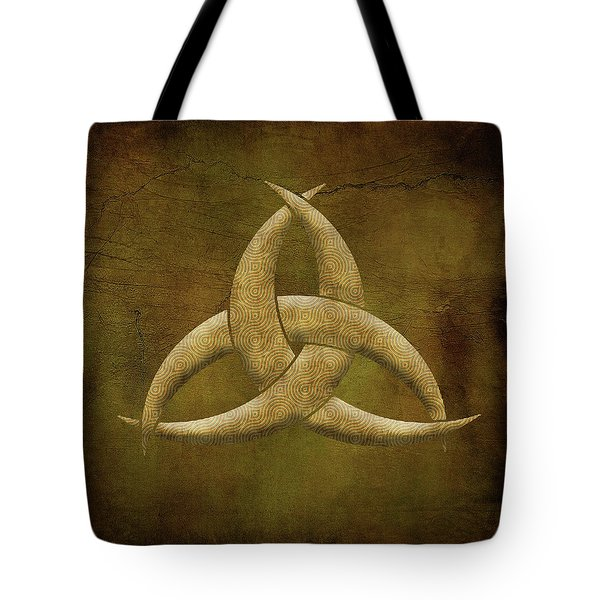 Earthen Celtic Triquetra Symbol Tote Bag by Kandy Hurley