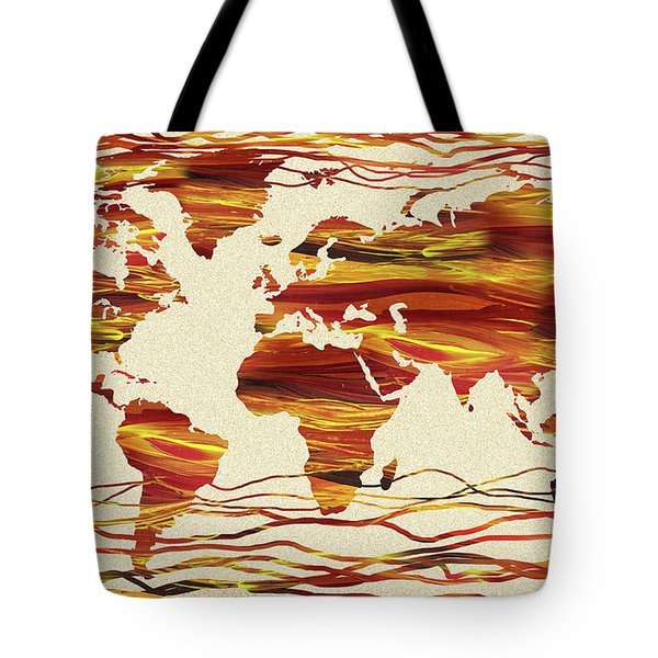 Earthy Lines World Map Abstract Tote Bag